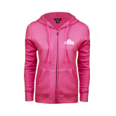 Ladies Fuschia Fleece Full Zip Hoodie-Lamar University w/Cardinal Head