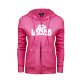 Ladies Fuschia Fleece Full Zip Hoodie-Kay Yow Breast Cancer Fund Ribbon