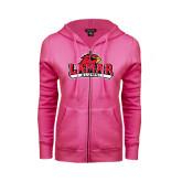 Ladies Fuchsia Fleece Full Zip Hoodie-Alumni