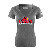 Ladies Under Armour Carbon Heather Tech Tee-Lamar University w/Cardinal Head