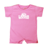 Bubble Gum Pink Infant Romper-Lamar University w/Cardinal Head
