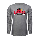 Grey Long Sleeve TShirt-Lamar University w/Cardinal Head