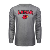 Grey Long Sleeve TShirt-Lamar w/Cardinal Head