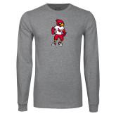 Grey Long Sleeve T Shirt-Cardinal Full Body