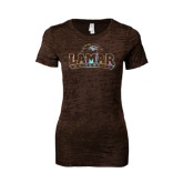 Ladies Junior Fit Chocolate Burnout Tee-Lamar University Foil