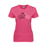 Ladies Fuchsia T-Lamar University Distressed Foil