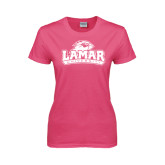 Ladies Fuchsia T-Lamar University w/Cardinal Head