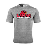 Performance Grey Heather Contender Tee-Lamar University w/Cardinal Head