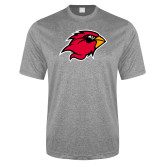 Performance Grey Heather Contender Tee-Cardinal Head