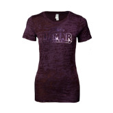 Ladies Junior Fit Plum Burnout Tee-Lamar University Foil
