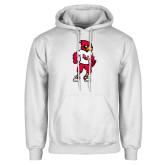 White Fleece Hoodie-Cardinal Full Body