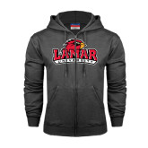 Charcoal Fleece Full Zip Hood-Lamar University w/Cardinal Head