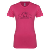 Ladies SoftStyle Junior Fitted Fuchsia Tee-Primary Mark Glitter