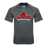 Under Armour Carbon Heather Tech Tee-Lamar University w/Cardinal Head
