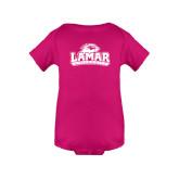 Fuchsia Infant Onesie-Lamar University w/Cardinal Head