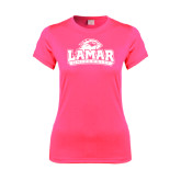 Ladies Performance Hot Pink Tee-Lamar University w/Cardinal Head
