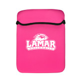 Neoprene Flap Closure Pink iPad Sleeve-Lamar University w/Cardinal Head