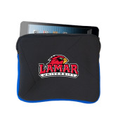 Neoprene Black w/Royal Trim Zippered Tablet Sleeve-Lamar University w/Cardinal Head