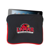 Neoprene Black w/Red Trim Zippered Tablet Sleeve-Lamar University w/Cardinal Head
