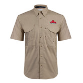 Khaki Short Sleeve Performance Fishing Shirt-Lamar University w/Cardinal Head
