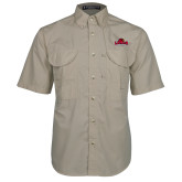 Khaki Short Sleeve Performance Fishing Shirt-Primary Mark, Logo above pocket