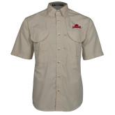Khaki Short Sleeve Performance Fishing Shirt-Primary Mark, Logo above pocket