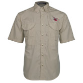 Khaki Short Sleeve Performance Fishing Shirt-Interlocking LU, Logo above pocket