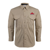 Khaki Long Sleeve Performance Fishing Shirt-Lamar University w/Cardinal Head