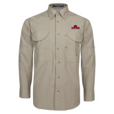 Khaki Long Sleeve Performance Fishing Shirt-Primary Mark, Logo above pocket