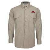 Khaki Long Sleeve Performance Fishing Shirt-Primary Mark, Logo above pocket