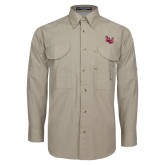 Khaki Long Sleeve Performance Fishing Shirt-Interlocking LU, Logo above pocket