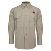 Khaki Long Sleeve Performance Fishing Shirt-Interlocking LU, Logo above pocket