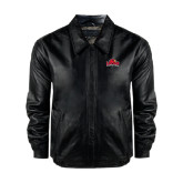 Black Leather Bomber Jacket-Lamar University w/Cardinal Head