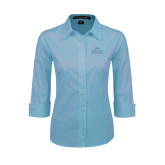 Ladies Light Blue 3/4 Sleeve Stretch Poplin-Lamar University w/Cardinal Head