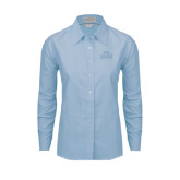 Ladies Light Blue Oxford Shirt-Lamar University w/Cardinal Head