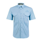 Light Blue Short Sleeve Performance Fishing Shirt-Lamar University w/Cardinal Head