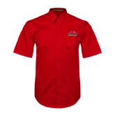 Red Twill Button Up Short Sleeve-Lamar University w/Cardinal Head