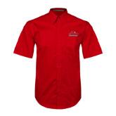Red Twill Button Up Short Sleeve-Lamar University w/Cardinal Head