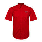 Red Twill Button Up Short Sleeve-Lamar w/Cardinal Head