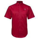 Red Twill Button Down Short Sleeve-Interlocking LU