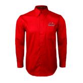 Red Twill Button Down Long Sleeve-Lamar University w/Cardinal Head