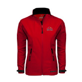 Ladies Red Softshell Jacket-Lamar University w/Cardinal Head