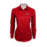 Ladies Red Twill Button Down Long Sleeve-Lamar University w/Cardinal Head
