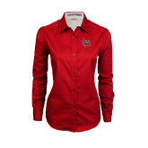 Ladies Red Twill Button Down Long Sleeve-LU