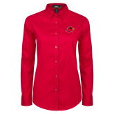 Ladies Red Twill Button Down Long Sleeve-Cardinal Head