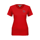 Ladies Red Stretch Scoop Neck-LU