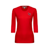 Ladies Red 3/4 Sleeve Scoop Neck-LU