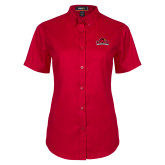 Ladies Red Twill Button Up Short Sleeve-Primary Mark