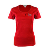 Ladies Red Silk Touch Scoop Neck-LU