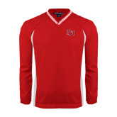 Colorblock V Neck Red/White Raglan Windshirt-LU